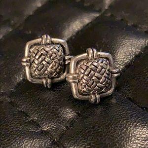 Nine West Silver Tribal Square Stud Earrings